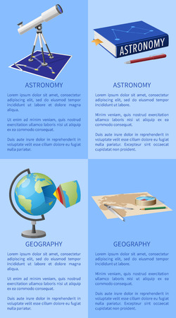 Astronomy Poster with Telescope Books on Geography Illustration