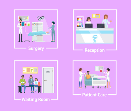 Surgery and reception, waiting room and patient care, set of posters with doctors operating someone and people on vector illustration