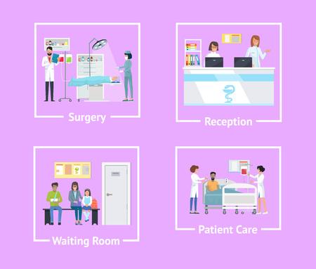 Cirugía y recepción, sala de espera y atención al paciente, conjunto de carteles con médicos que operan a alguien y personas en la ilustración vectorial Ilustración de vector