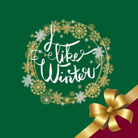 I like winter poster in decorative frame made of silver and golden snowflakes, snowballs of gold in x-mas border on green decorated by bow in corner Illustration