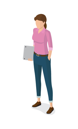 Woman with Notebook, in Pink Sweater, Blue Jeans Stock Vector - 92107407