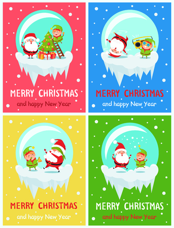 Postcard for Merry Christmas Happy and New Year Illustration