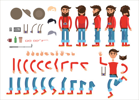 Hipster character constructor with body parts, clothes, gadgets and accessories. Bearded man in jumper, rolled up jeans and boots with photo camera on neck from different sides isolated flat vector