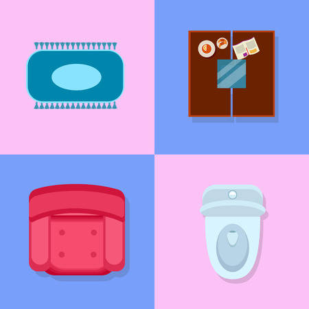Closeup of furniture items, icons of blue carpet, table with plate with lemon and magazine on it, pink armchair and toilet on vector illustration