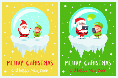 Merry Christmas and happy New Year, delighted Santa, and joyful elf jumping together, poster with titles and images set, vector illustration Illustration