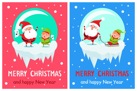 Merry Christmas and happy New Year, greetings from singing Santa and his fellow helper elf, winter characters riding on sled vector illustration Ilustrace