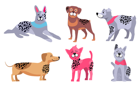 Relaxed doberman, friendly rottweiler, German wirehaired pointer, cute dachshund, Chinese crested dog and calm malamute vector illustrations.