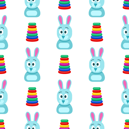 Hare with Funny Face and Pyramid Seamless Pattern