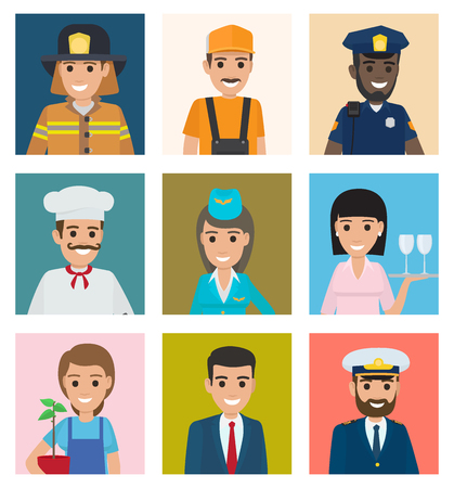 Square portraits of workers from very various profession industries in uniforms and wide smiles set of vector illustrations.