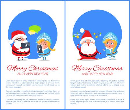 Joyeux noël et bonne année affiche Banque d'images - 92107422