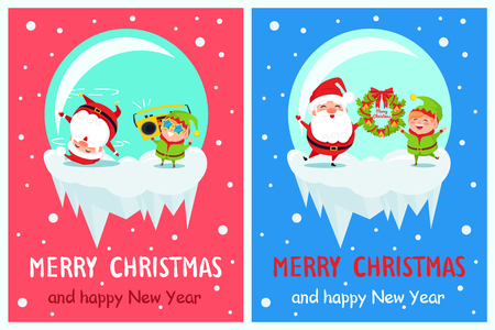 Merry Christmas and happy New Year poster with Elf and Santa dancing on snow listening to music in tape recorder, holds wreath vector cartoon characters