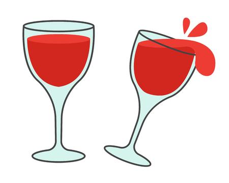 ワインフラットベクトルアイコン付き2つのメガネ  イラスト・ベクター素材