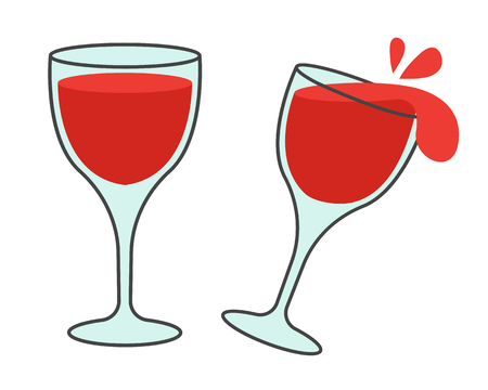 Two Glasses with Wine Flat Vector Icons