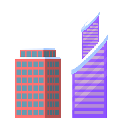 Set of City Buildings Icons Vector Illustration 矢量图像