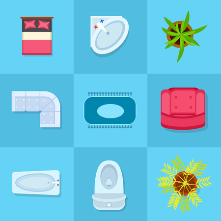 Colorful Home Furniture Icons Vector Illustration