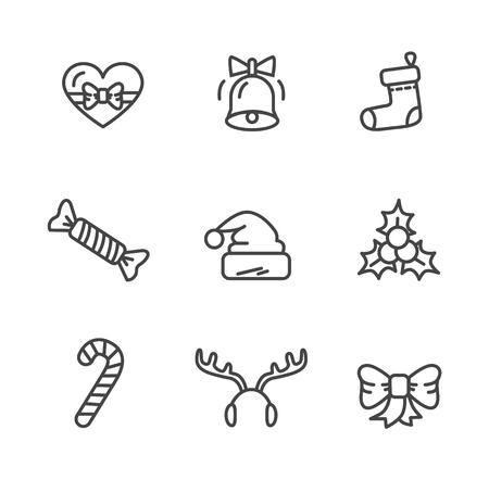 Winter theme set of icons isolated on white background. Vector illustration with Santa Claus hat with bubo, ringing bell decorated by bow and sweets