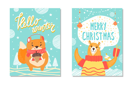 Hello Winter Christmas Set Vector Illustration