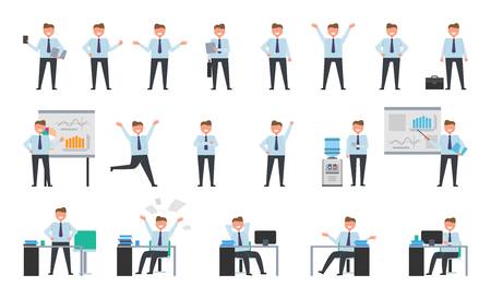 Smiling businessman working set of icons isolated on white. Vector illustration of smartly-dressed grown-up man engaging in various activities at work Illustration