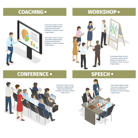Coaching new businesspeople, workshop from successful entrepreneurs, conference to share experience and make motivating speech vector illustration. Vettoriali