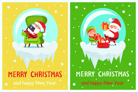 Happy New Year Merry Christmas Poster set