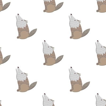 Cartoon Wolf Seamless Pattern on White Vector