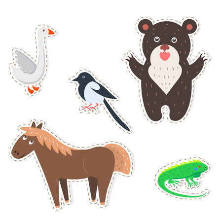 Cute Animals Cartoon Vector Stickers Set