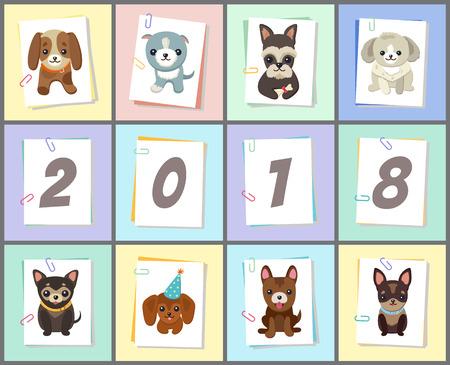 New Year 2018 Dog symbol 向量圖像