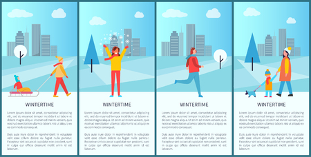 Wintertime Activities Poster Vector Illustration