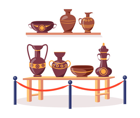 Set of Ancient Greek Pottery Isolated Illustration