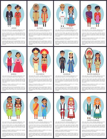 Japan and Alaska Posters Set Vector Illustration
