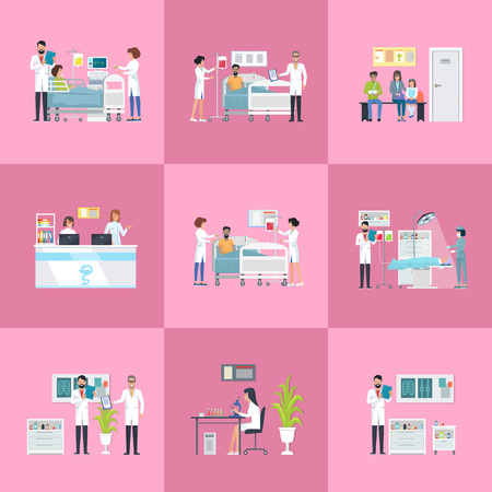 Hospital Activities on Vector Illustration Pink Illustration