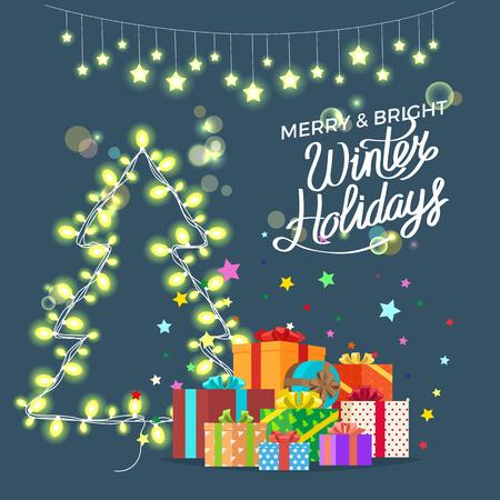 Merry Bright Winter Holidays Vector Illustration Illustration