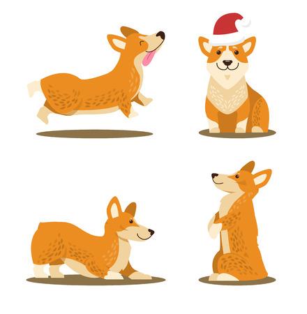 Corgi Dog Set of Four Icons Vector Illustration