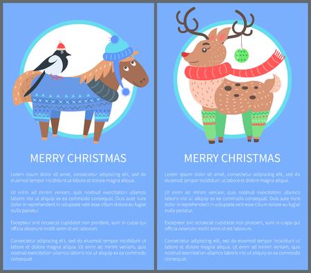 Merry Christmas ansichtkaart met paard goudvink herten Stock Illustratie