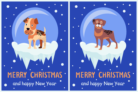 Merry Christmas and Happy New Year Posters Illustration