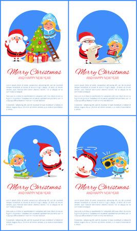 願い、陽気なサンタクロースとクリスマスツリーの近くに雪の乙女とポストカードは、贈り物を与え、白、青の円の休日で祝福