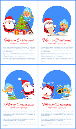 Postcard with wishes, cheerful Santa Claus and Snow Maiden near christmas tree, giving gifts and congratulates with holidays on white, blue circle Illustration