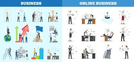複数のアイコンを持つバナーのビジネス コレクション。勤勉な従業員が職務を遂行し、オンラインで作業する孤立したベクトルイラスト