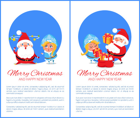Merry Christmas and Happy New Year posters with Santa and Snow Maiden fatigue from work, put presents into sack vector cartoon characters with text