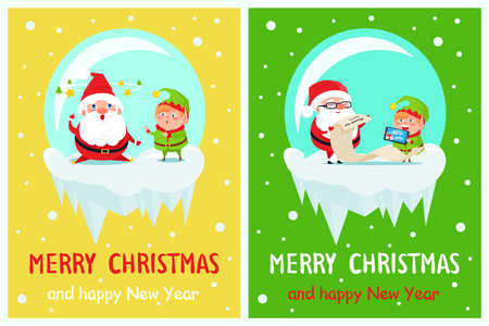 Happy New Year Merry Xmas postcard Santa and Elf tired with stars over head, reading wish list on paper scroll and on digital tablet vector characters