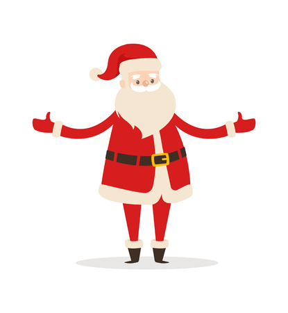 Santa Claus cartoon character with wide open arms vector illustration icon of Father Christmas symbol with beard isolated on white background