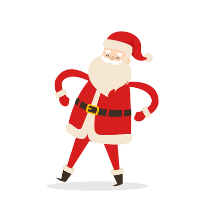 Funny dancing Santa Claus icon isolated on white background. Vector illustration with Santa in traditional red costume and hat with fluffy bubo