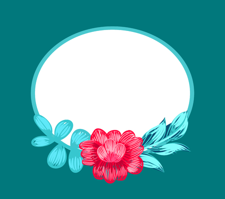 Flower in blossom of pink color and oval shaped frame with empty space in it, petals and leaves on vector illustration isolated on blue Vettoriali