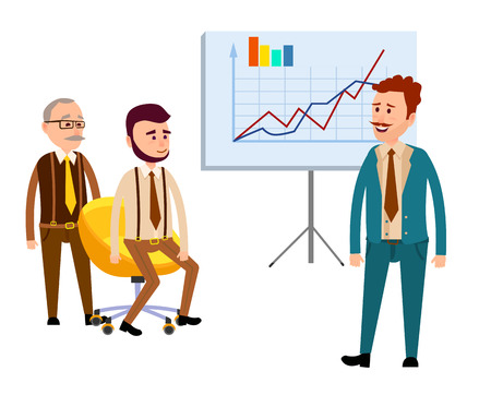 Three Businessmen in Office with Diagrams Flat