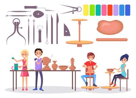 Gelukkig jonge pottenbakkers en verschillende hulpmiddelen illustratie