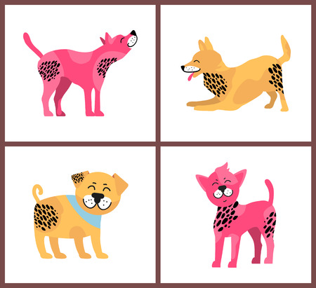 Friendly dogs in playful mood that have bright fur of yellow and pink colors and black spots isolated vector illustration on white background.