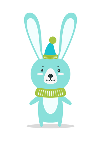 Adorable hare with huge ears in warm cone hat and knitted scarf isolated vector illustration on white background. Small forest Christmas animal.