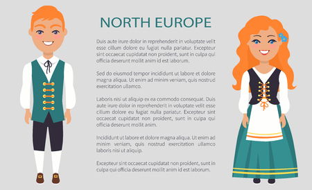 Noord-Europa mensen, douane vectorillustratie