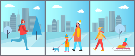 Snowy wintertime city park with happy families walking dogs or having fun with children. Vector illustration with people on light urban background