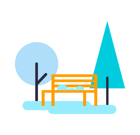 Trees and bench composition, pine and yellow wooden object for you to sit, plants and ice, wintertime poster vector illustration isolated on white Illustration
